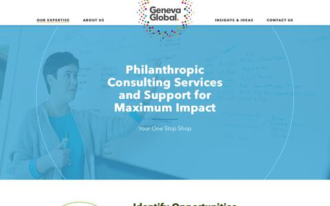 Screenshot of Services Page genevaglobal.com - Philanthropic Consulting Services | Impact Investing | Geneva Global - captured July 3, 2018