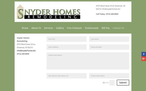 Screenshot of Contact Page snyderhomes.biz - Contact Us | Snyder Homes - captured Dec. 17, 2016