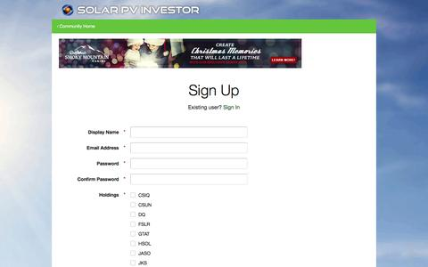 Screenshot of Signup Page solarpvinvestor.com - Registration - Solar PV Investor Forums - captured Jan. 12, 2016