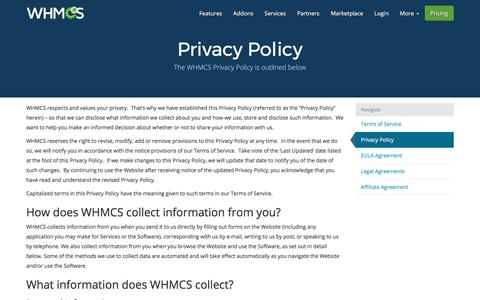 Screenshot of Privacy Page whmcs.com - Privacy Policy | WHMCS - captured June 20, 2017