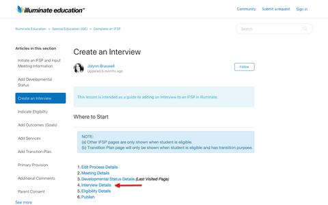 Screenshot of Support Page illuminateed.com - Create an Interview – Illuminate Education - captured Dec. 10, 2018