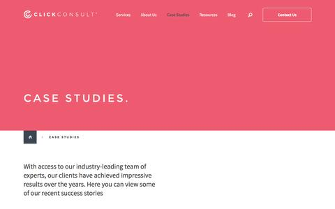 Screenshot of Case Studies Page click.co.uk - Search Marketing Case Studies - Click Consult - captured Jan. 19, 2016