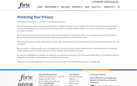 Privacy Policy | Forte Research Systems