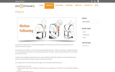 Screenshot of Products Page exodynamicsmedical.com - Products | Exo Dynamics - captured Oct. 3, 2014