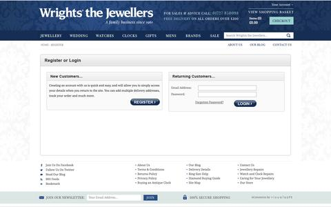 Screenshot of Login Page wrightsjewelleryshop.co.uk - Wrights The Jewellers - Silver and Gold Jewellery for Men and Women - captured Oct. 26, 2014