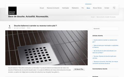Screenshot of Press Page shower-stones.be - Bacs de douche extra-plats. Sur-mesure. Nouveau   Blog Shower-Stones - captured Oct. 7, 2014