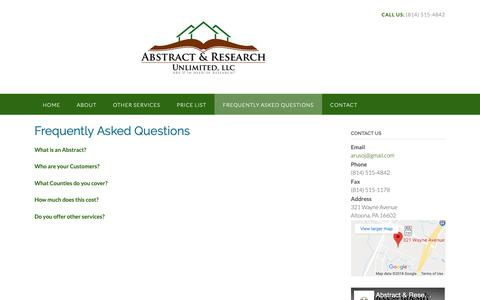 Screenshot of FAQ Page abstractresearchunlimited.com - Frequently Asked Questions – Abstract & Research Unlimited, LLC - captured Oct. 2, 2018