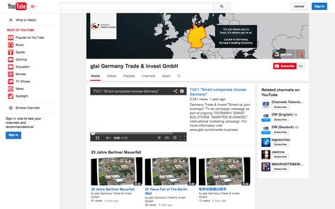 Screenshot of YouTube Page youtube.com - gtai Germany Trade & Invest GmbH  - YouTube - captured Oct. 26, 2014
