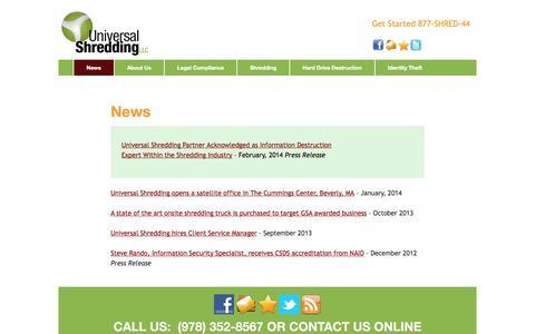 Screenshot of Press Page universalshredding.com - News | Universal Shredding LLC - captured Oct. 26, 2014