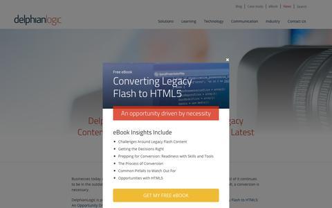 Screenshot of Press Page delphianlogic.com - Converting Legacy Flash to HTML5 - DelphianLogic's Latest eBook - captured Nov. 6, 2018