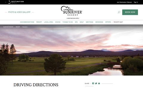 Screenshot of Maps & Directions Page destinationhotels.com - Resorts Near Bend Oregon | Sunriver Resort - Directions - captured June 28, 2017