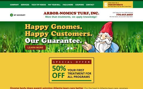 Screenshot of Home Page arbor-nomics.com - Top Rated Atlanta, GA Lawn Care Service | Arbor-Nomics - captured Jan. 14, 2019