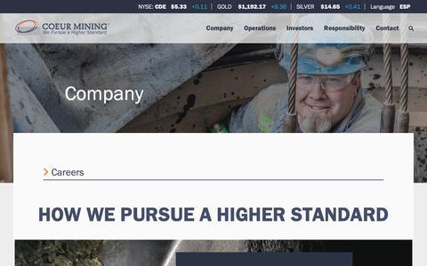 Screenshot of Jobs Page coeur.com - Coeur Mining - Careers - captured Sept. 28, 2018