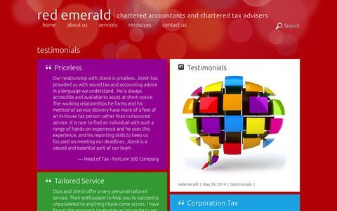 Screenshot of Testimonials Page redemerald.co.uk - testimonials - captured Oct. 6, 2014