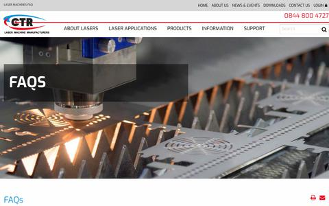 Screenshot of FAQ Page ctrlasers.co.uk - Laser Machines FAQ - Laser Machine Manufacturer - CTR Lasers - captured July 15, 2018