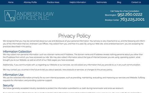 Screenshot of Privacy Page andresenlaw.com - Foreclosure Defense Lawyer in Bloomington | Privacy Policy - captured April 25, 2017