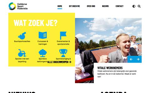 Screenshot of Home Page geldersesportfederatie.nl - Home - Gelderse sport federatie - captured July 16, 2018