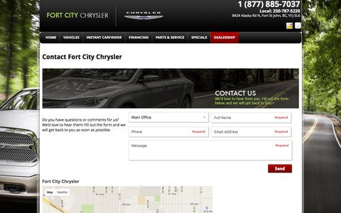 Screenshot of Contact Page Maps & Directions Page fortcitychrysler.ca - Contact Fort City Chrysler | Contact Us | Fort St. John, BC - captured Feb. 10, 2016
