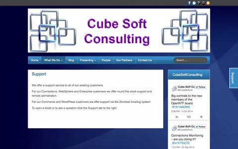 Screenshot of Support Page cube-soft.co.uk - Support - Cube Soft Consulting - captured Oct. 3, 2014