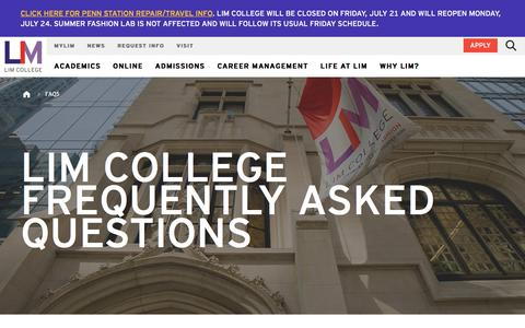 Screenshot of FAQ Page limcollege.edu - LIM College Frequently Asked Questions - captured July 21, 2017