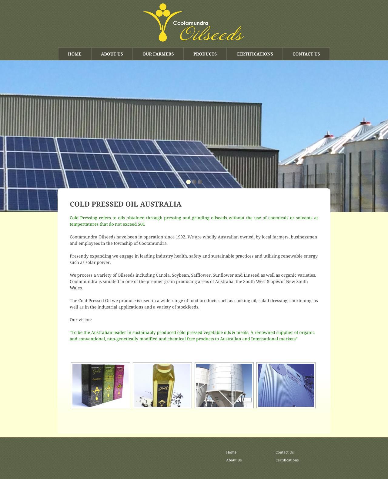 Screenshot of oilseeds.com.au - Oilseeds website  Oilseeds website - captured Sept. 18, 2015