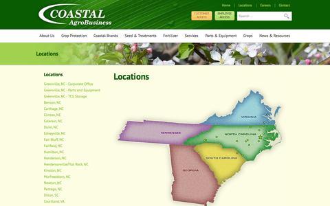 Screenshot of Locations Page coastalagro.com - Locations | Coastal AgroBusiness - captured Oct. 3, 2014
