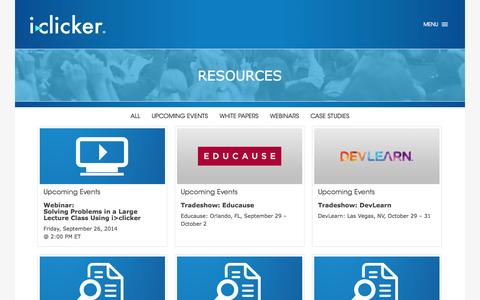 Screenshot of Case Studies Page iclicker.com - Resources Archive | iClicker - captured Sept. 19, 2014