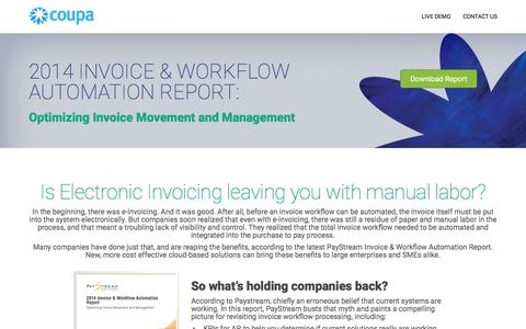Screenshot of Landing Page coupa.com - Coupa | Invoice Workflow Automation Report - captured Aug. 13, 2016