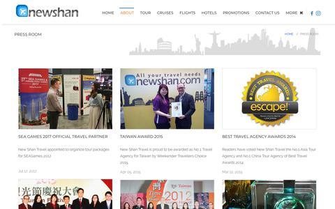 Screenshot of Press Page newshan.com - Press Room   New Shan Travel Agency - captured Sept. 22, 2018