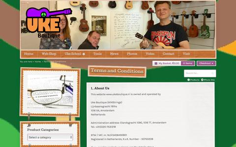 Screenshot of Terms Page ukeboutique.nl - Details of the terms and conditions of using our website. - captured Dec. 20, 2015