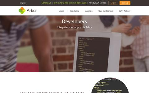Screenshot of Developers Page arbor-education.com - Arbor Education Partners - captured Feb. 6, 2016