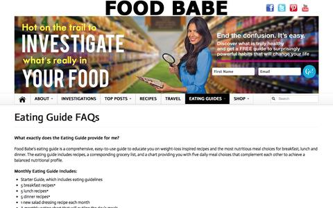 Screenshot of FAQ Page foodbabe.com - Eating Guide FAQs | Food Babe - captured Oct. 29, 2014