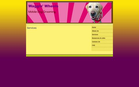 Screenshot of Services Page wagginwheelsmobilegrooming.com - mobile dog grooming, Waggin' Wheels Mobile Dog Grooming Eugene, OR Eugene, OR Services - captured Oct. 7, 2014