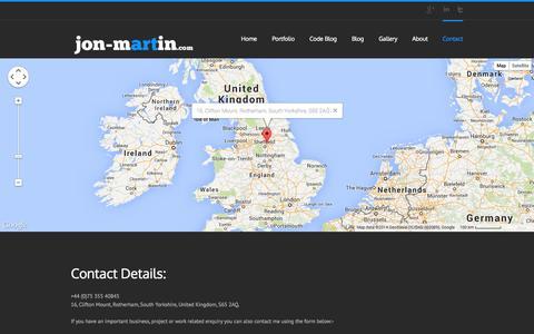 Screenshot of Contact Page jon-martin.com - jon-martin.com   –  Contact - captured Oct. 6, 2014