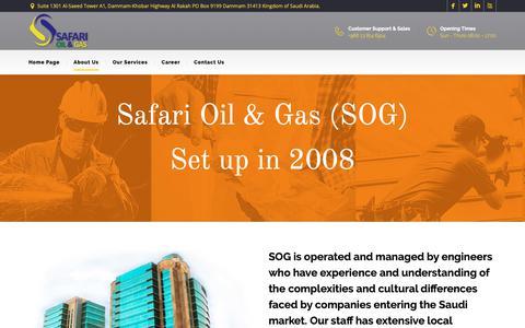 Screenshot of About Page safarioilgas.com - Safari Oil & Gas company Ltd. » About Us - captured Nov. 5, 2018