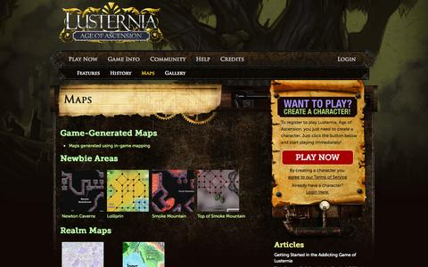 Screenshot of Maps & Directions Page lusternia.com - Text Games | Maps - captured Oct. 3, 2014