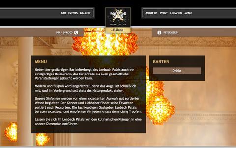 Screenshot of Menu Page rilano-no6.com - Menu - The Martini Club by Rilano Hotels & Resorts - captured Oct. 2, 2014