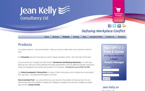 Screenshot of Products Page jeankellyconsultancy.co.uk - Jean Kelly Products Page - captured Oct. 6, 2014
