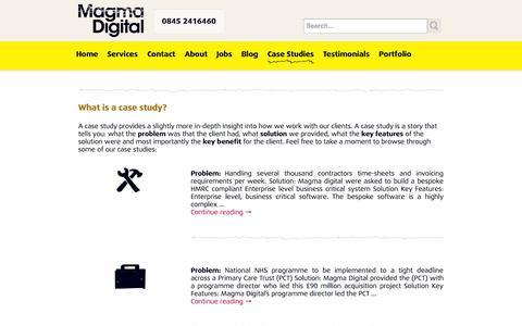 Screenshot of Case Studies Page magmadigital.co.uk - Case Studies | Magma Digital Ltd - captured Oct. 4, 2014
