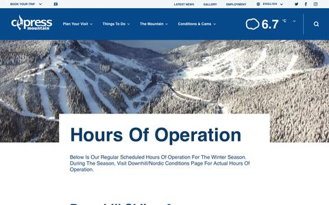 Screenshot of Hours Page cypressmountain.com - Hours of Operation | Cypress Mountain - captured Nov. 5, 2018