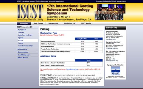 Screenshot of Pricing Page iscstsymposium.org - ISCST Symposium > 2014 > Symposium > Pricing - captured March 4, 2016