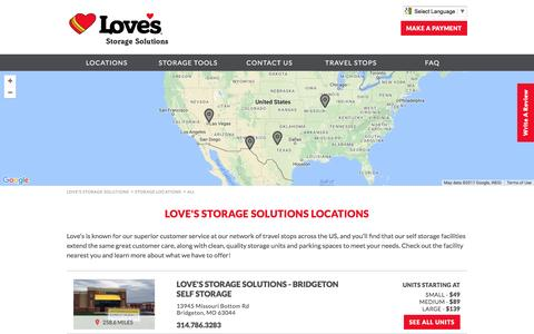Screenshot of Locations Page lovesstorage.com - Self Storage in TX, MO, and NV | Love's Storage Solutions - captured May 8, 2017