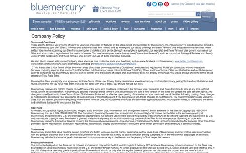 Screenshot of Terms Page bluemercury.com - Bluemercury Policies - captured Sept. 23, 2014