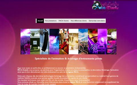 Screenshot of Home Page paca-events.fr - PACA-Events - devis dj animation soiree mariage privee anniversaire CE - captured Sept. 26, 2014