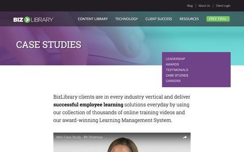 Screenshot of Case Studies Page bizlibrary.com - Case Studies | BizLibrary - Improving the Way Employees Learn - captured July 23, 2016