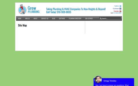 Screenshot of Site Map Page growplumbing.com - Site Map | Grow Plumbing - Dedicated To Growing Your Plumbing Business - captured Oct. 30, 2019