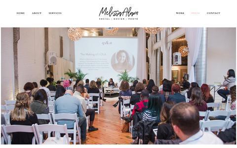 Screenshot of Press Page melissaalam.com - Press — Melissa Alam - captured Sept. 22, 2018
