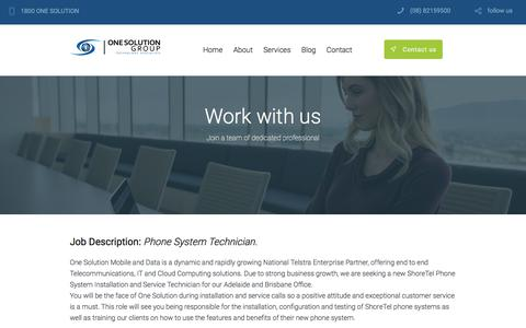Screenshot of Jobs Page onesolution.net.au - Careers | One Solution Group - captured Oct. 20, 2017