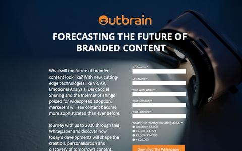 Screenshot of Landing Page outbrain.com - Forecasting The Future Of Branded Content - captured Dec. 27, 2016