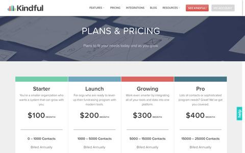 Screenshot of Pricing Page kindful.com - Kindful | Pricing - captured Sept. 17, 2016